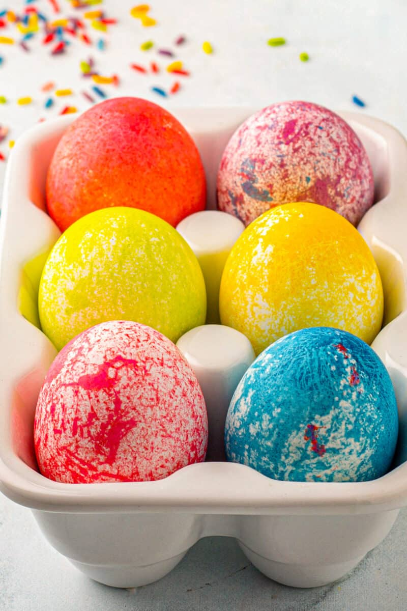 rice dyed easter eggs in egg crate