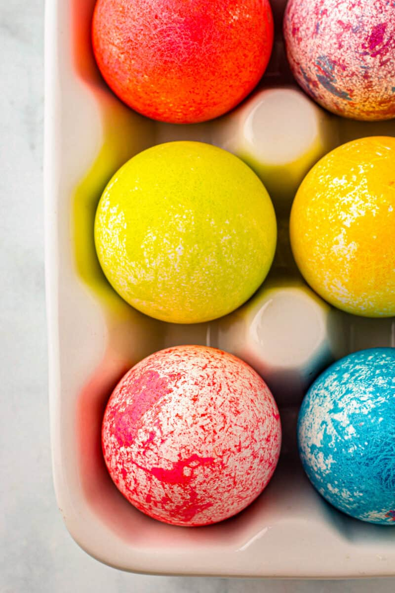 overhead rice dyed easter eggs in egg crate