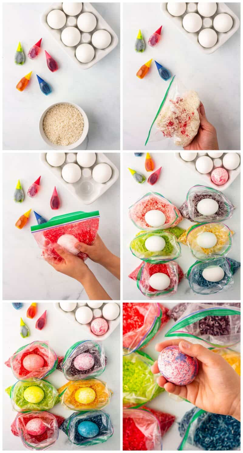 step by step photos of how to make rice dyed easter eggs