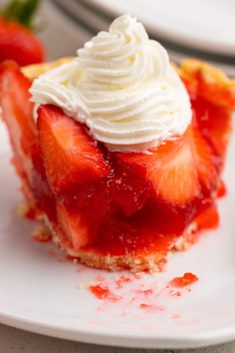up close slice of strawberry jello pie