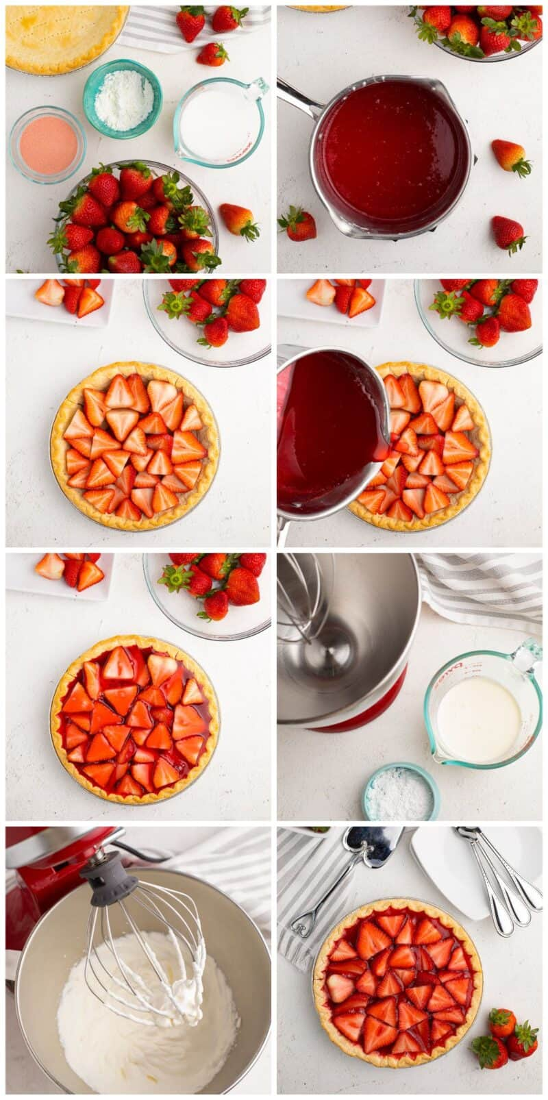 step by step photos for how to make strawberry jello pie