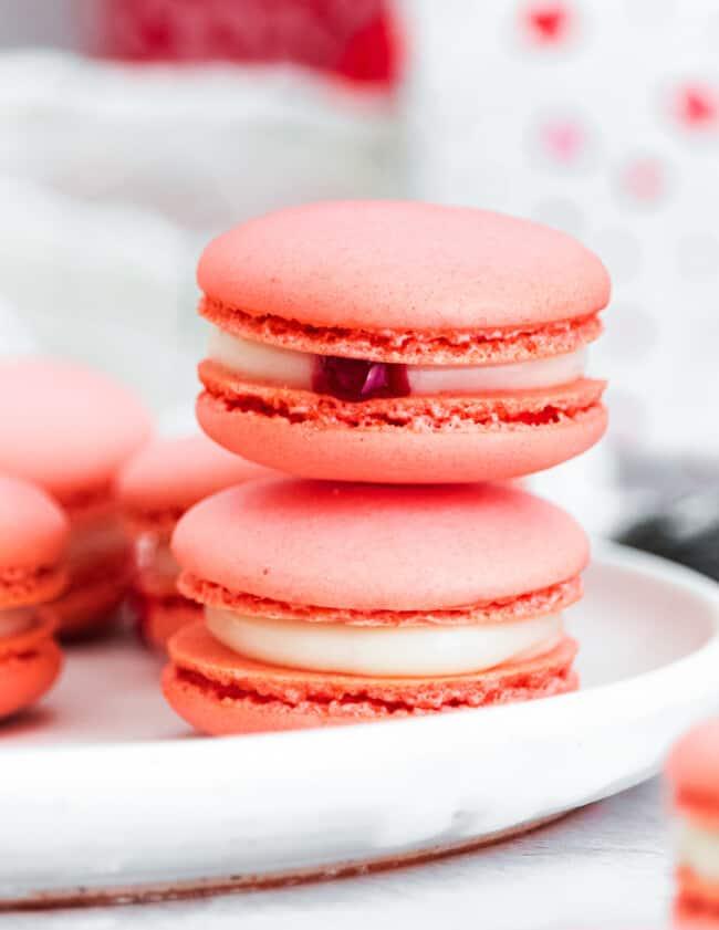 stacked valentine's macarons