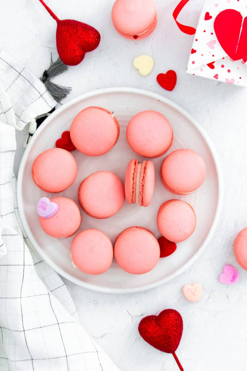pink Valentine's Macarons on plate