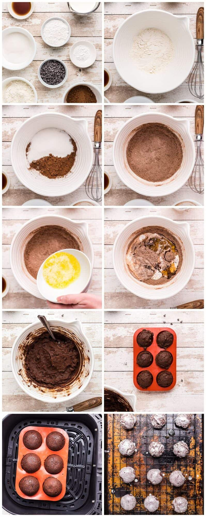 step by step photos for how to make chocolate donut holes in an air fryer