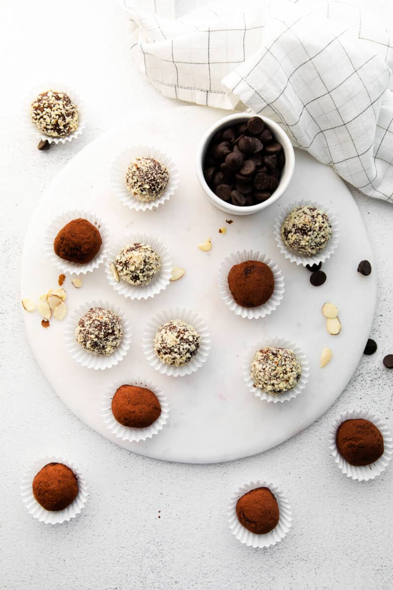 serving tray with amaretto truffles