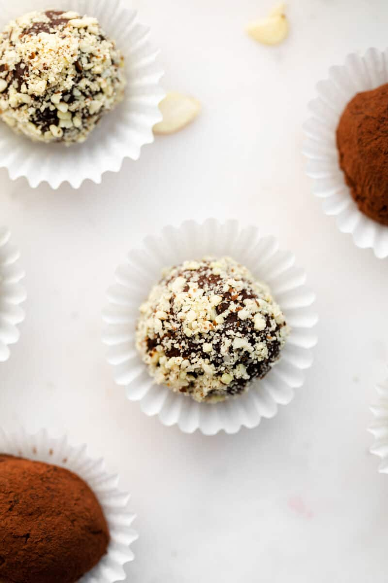 chocolate amaretto truffles in cupcake liners