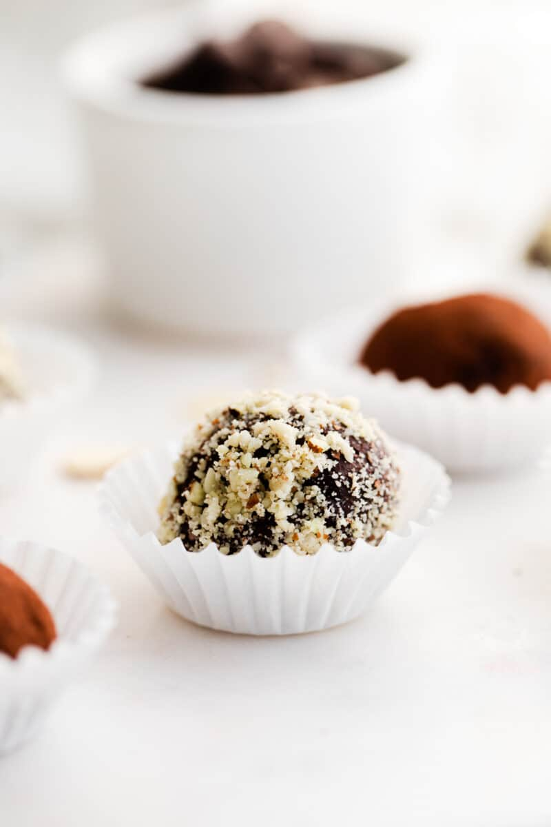 side shot chocolate amaretto truffles in cupcake liners
