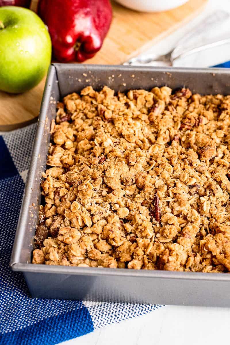 apple crisp in baking pan