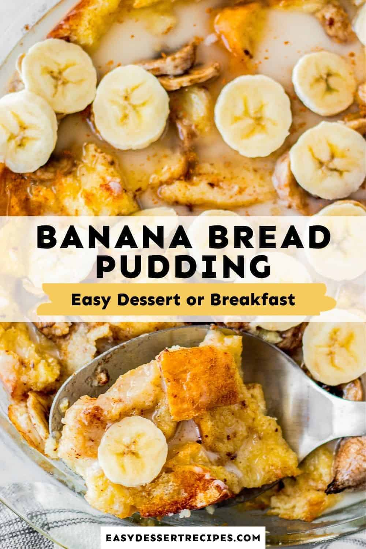 banana bread pudding pinterest collage