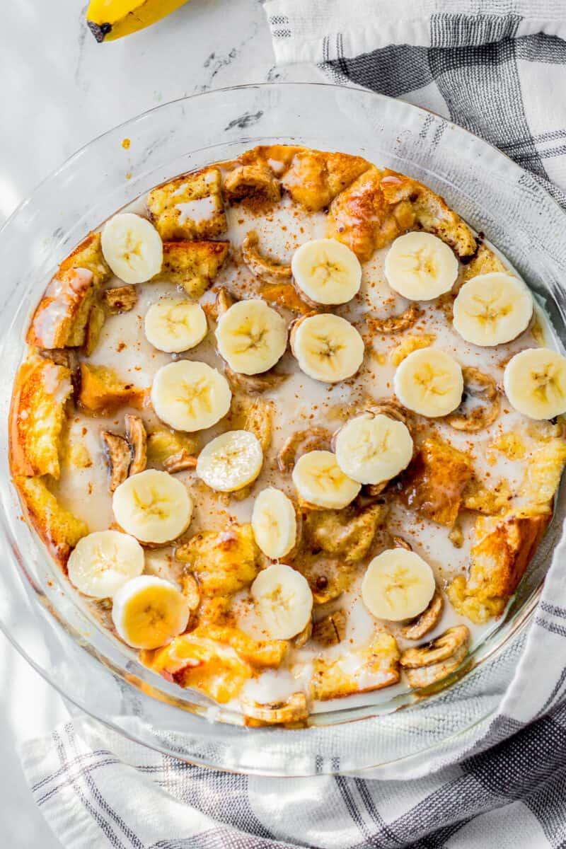 overhead banana bread pudding