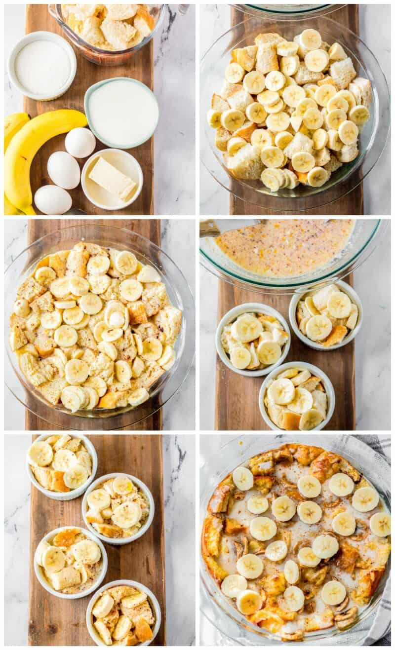 step by step photos for how to make banana bread pudding
