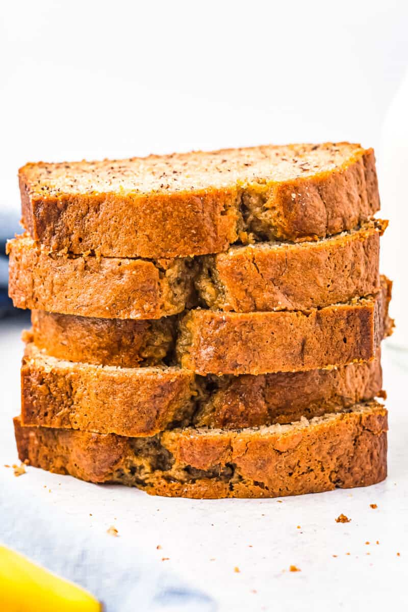 stacked slices of banana bread