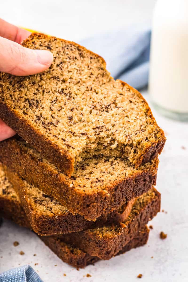 bite out of banana bread slice