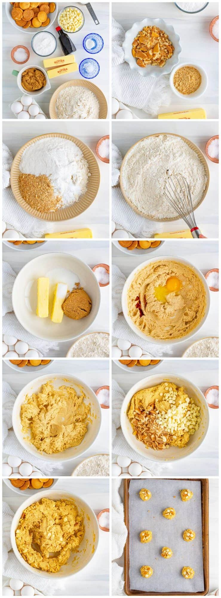 step by step photos for how to make banana pudding cookies
