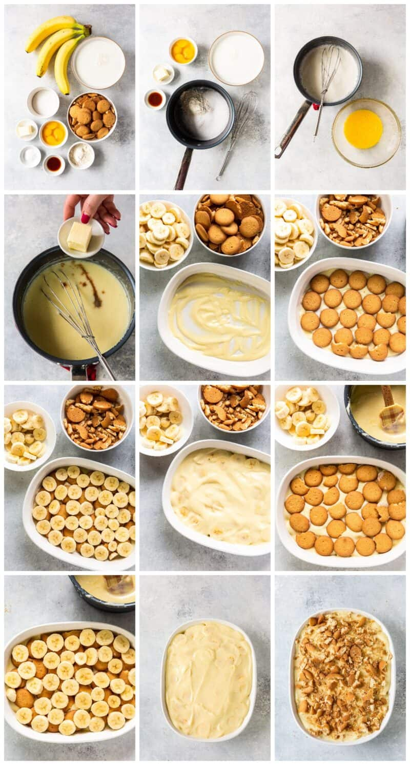 step by step photos of how to make banana pudding