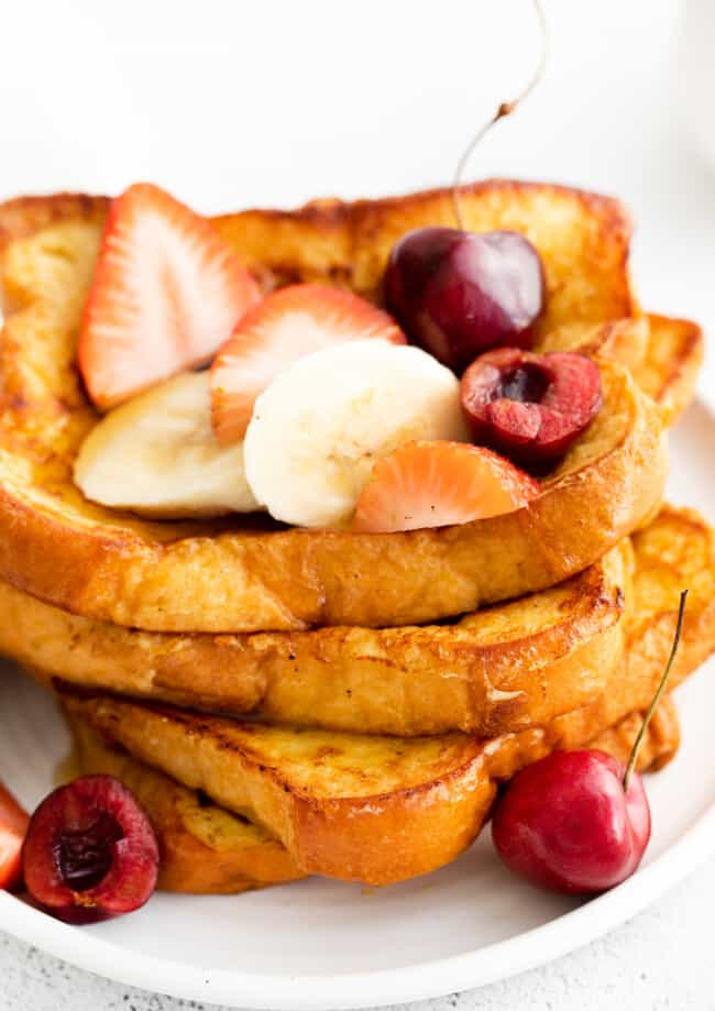 up close brioche french toast with fresh fruit
