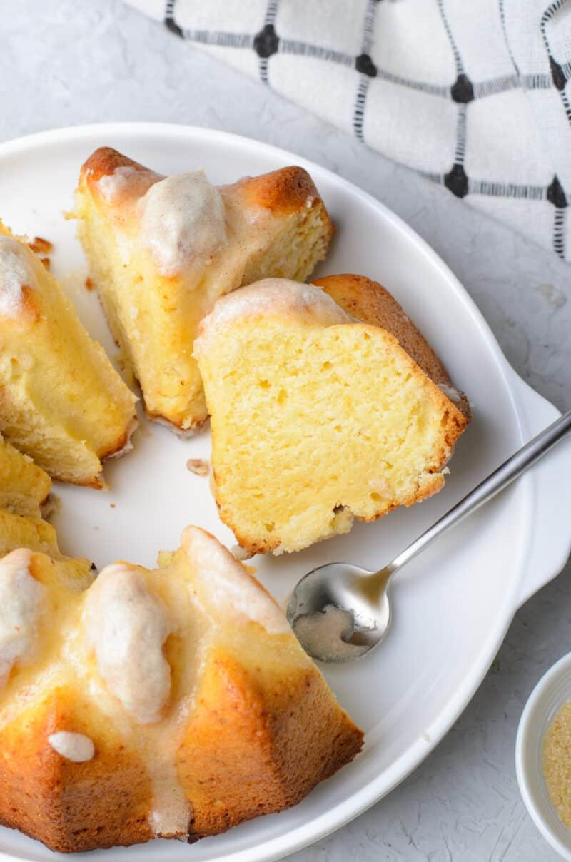 sliced brown butter bundt cake on serving platter