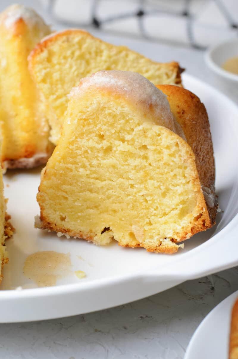 up close slices of glazed brown butter bundt cake