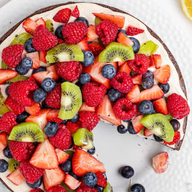slice out of brownie fruit pizza