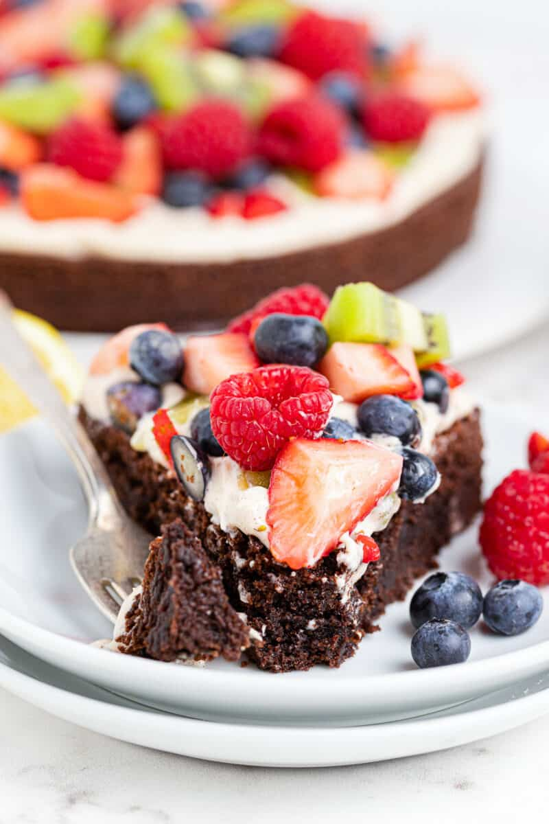 bite out of brownie fruit pizza