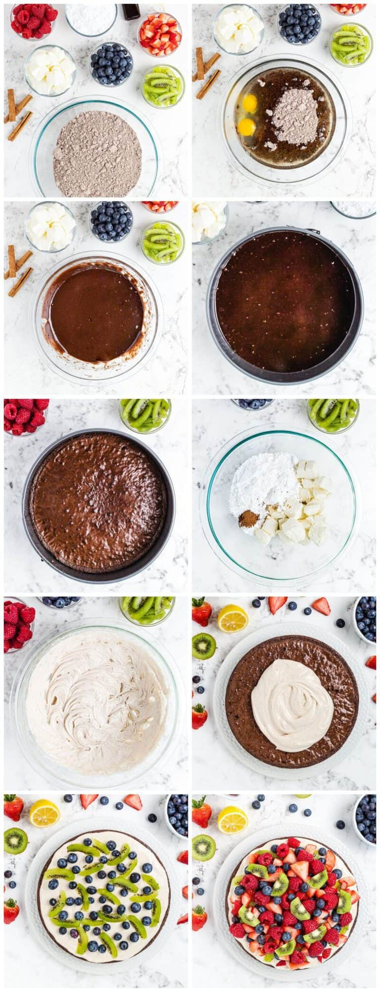 step by step photos with how to make brownie fruit pizza