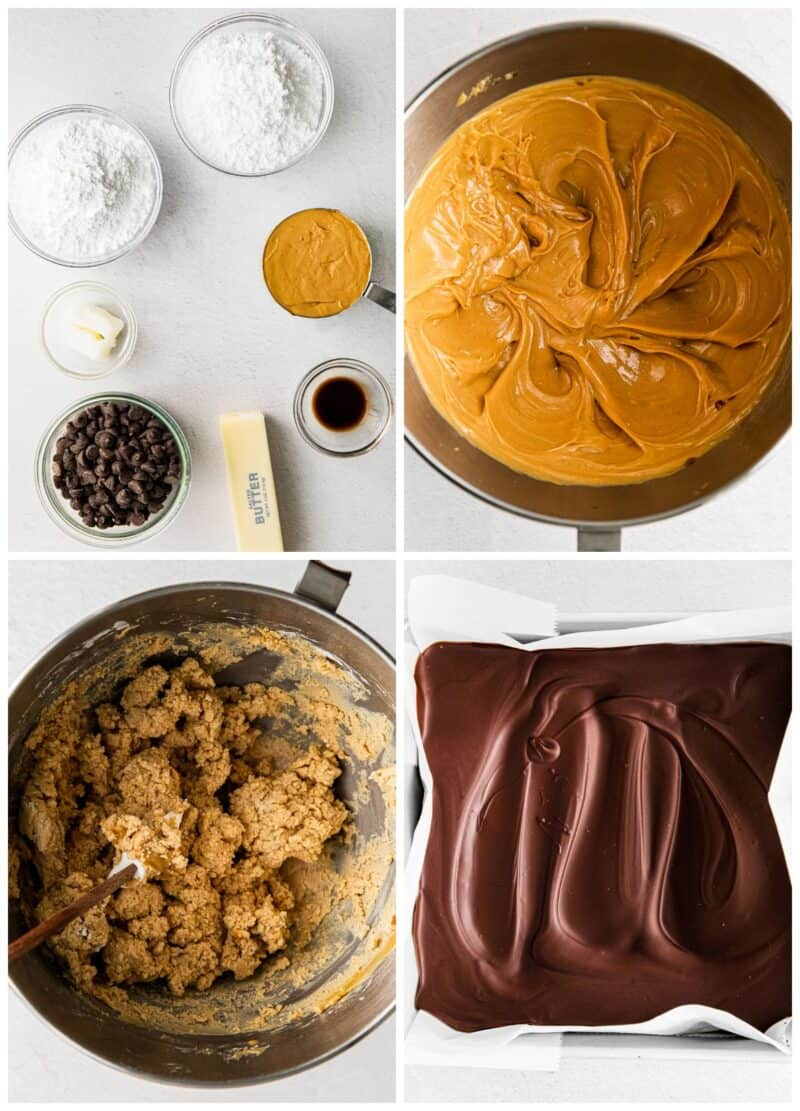 step by step photos for how to make buckeye bars
