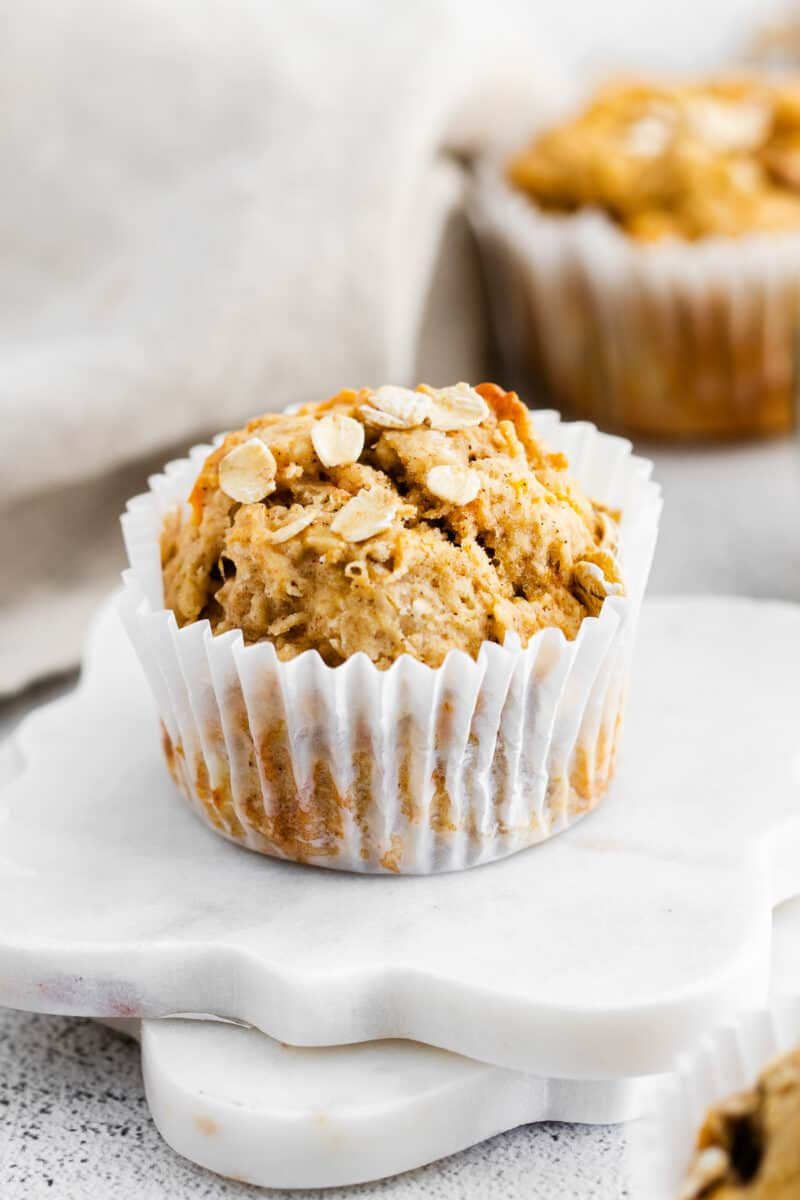 carrot banana muffins in white liners