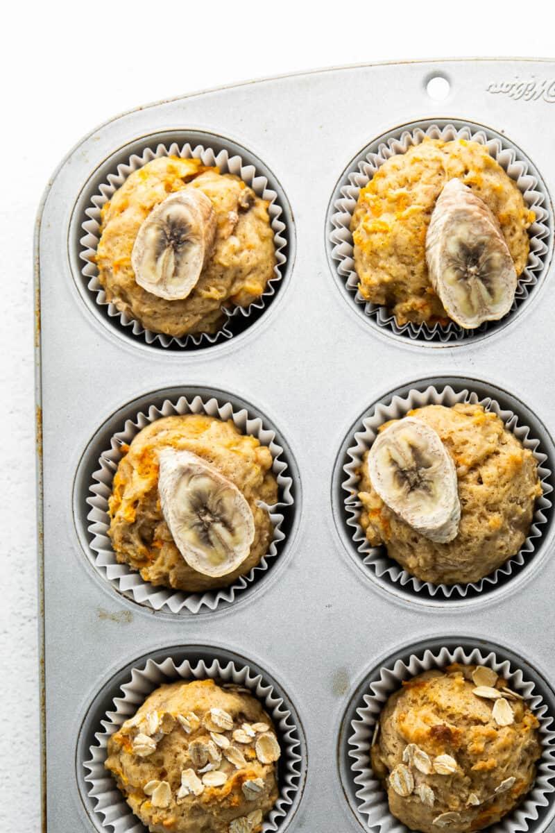 carrot banana muffins in cupcake tin