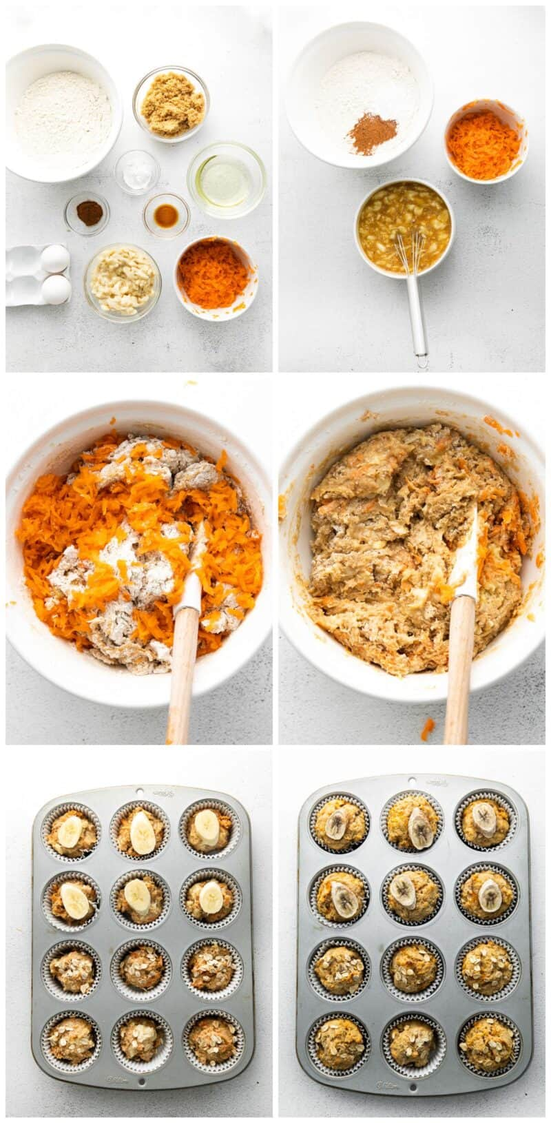 step by step photos of how to make carrot banana muffins