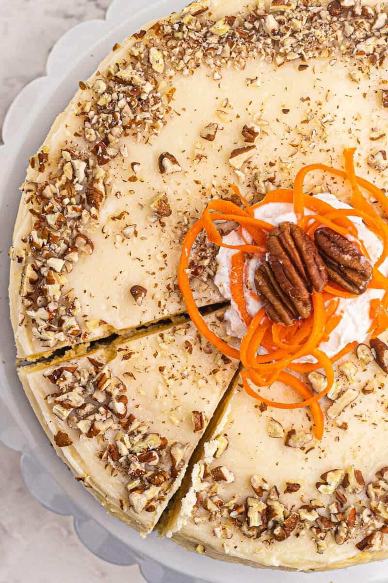 overhead up close photo of carrot cake cheesecake
