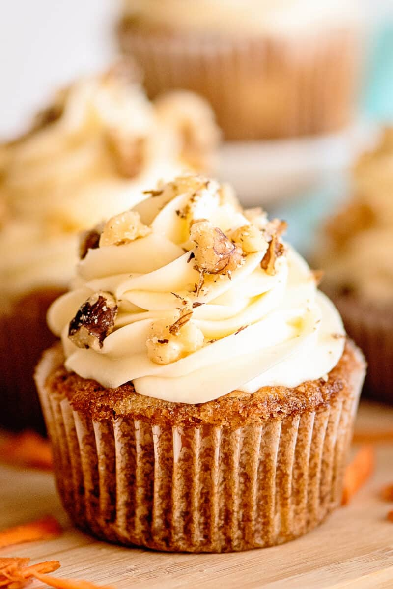 up close carrot cake cupcakes with cream cheese frosting