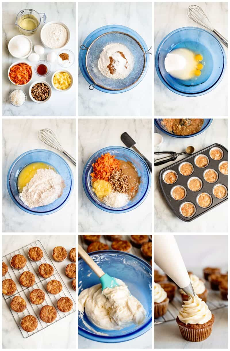 step by step photos for how to make carrot cake cupcakes