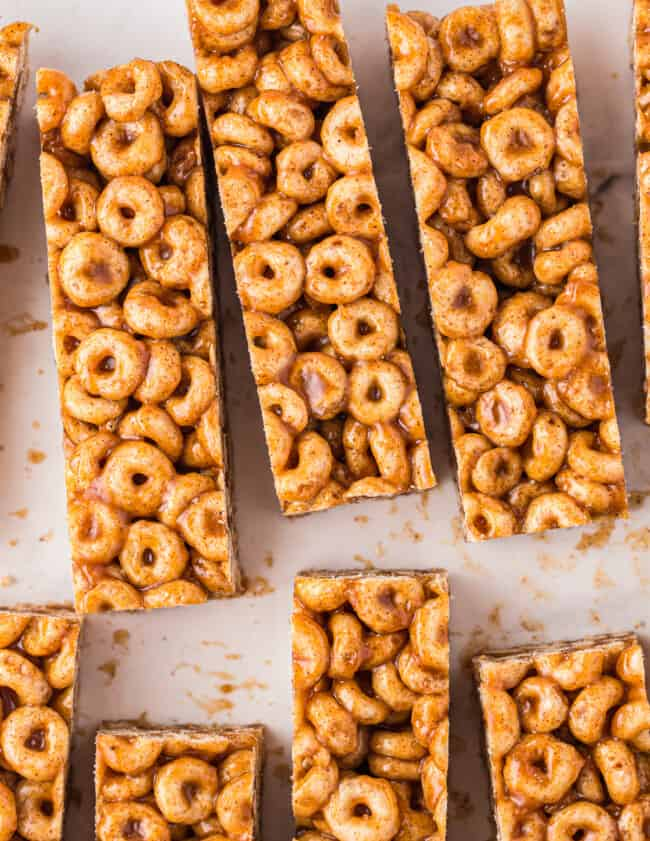 laid out cereal bars up close