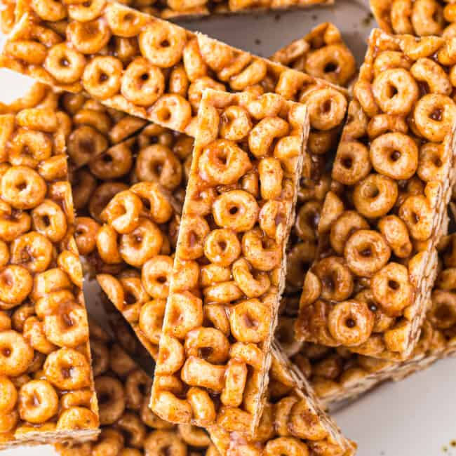 stacked easy cereal bars made with cheerios