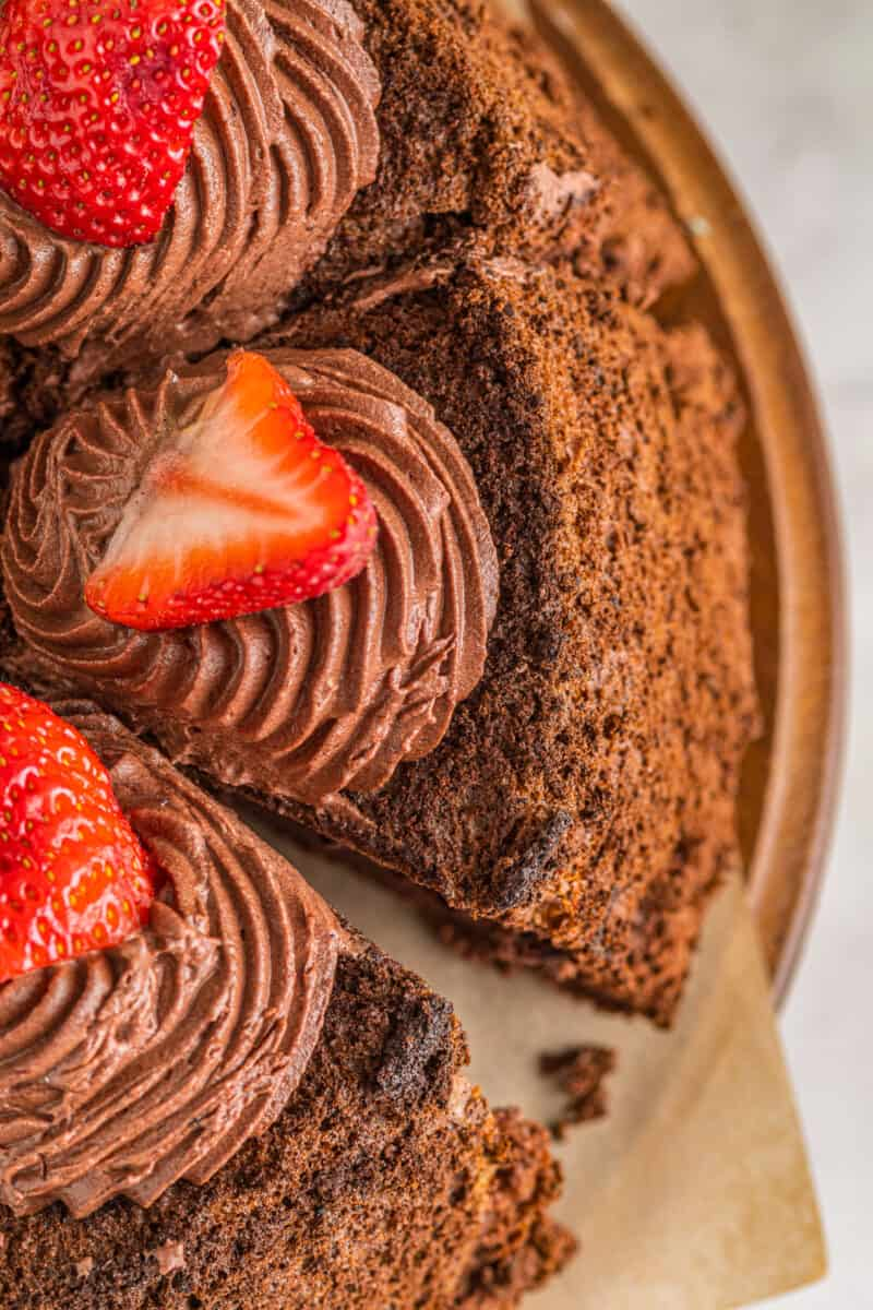 chocolate angel food cake with chocolate whipped cream frosting