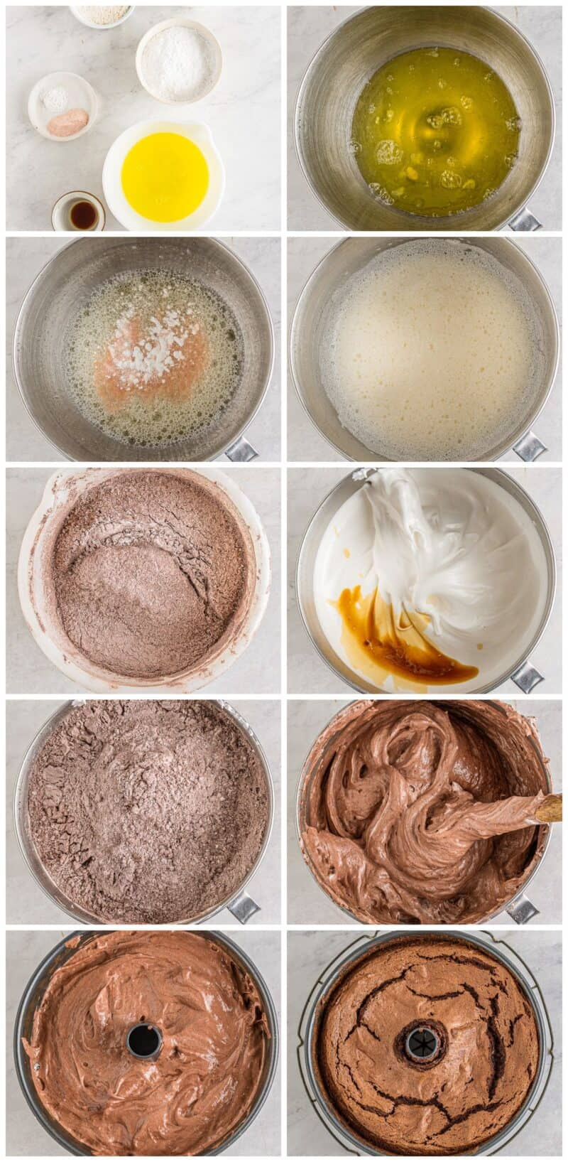 step by step photos for how to make chocolate angel food cake