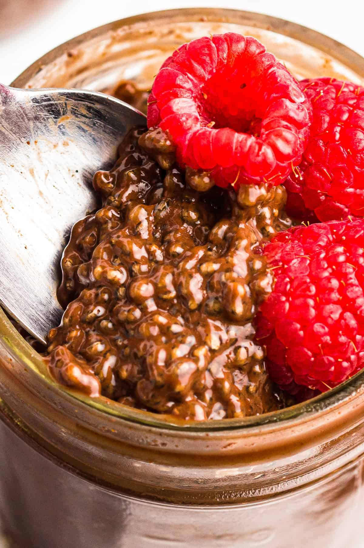 up close spoon in chocolate chia pudding