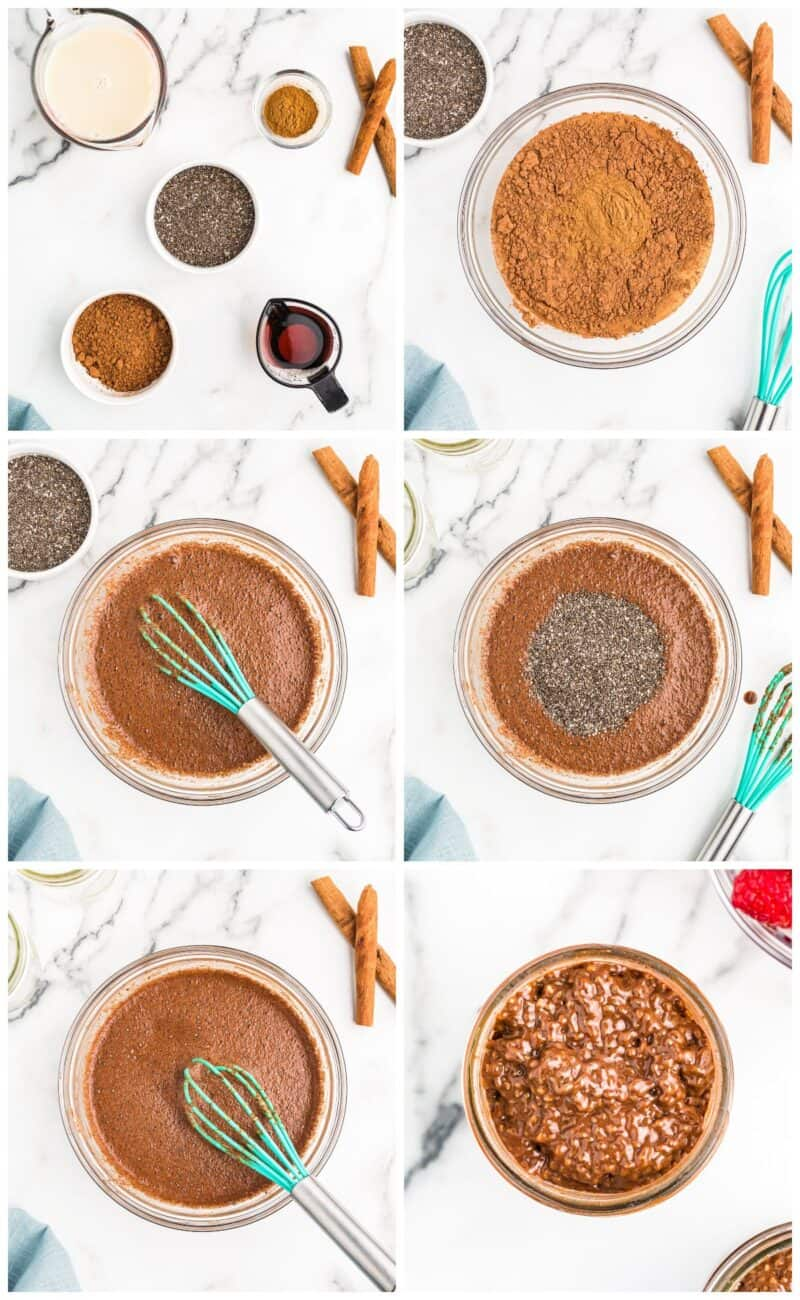 step by step photos for how to make chocolate chia pudding