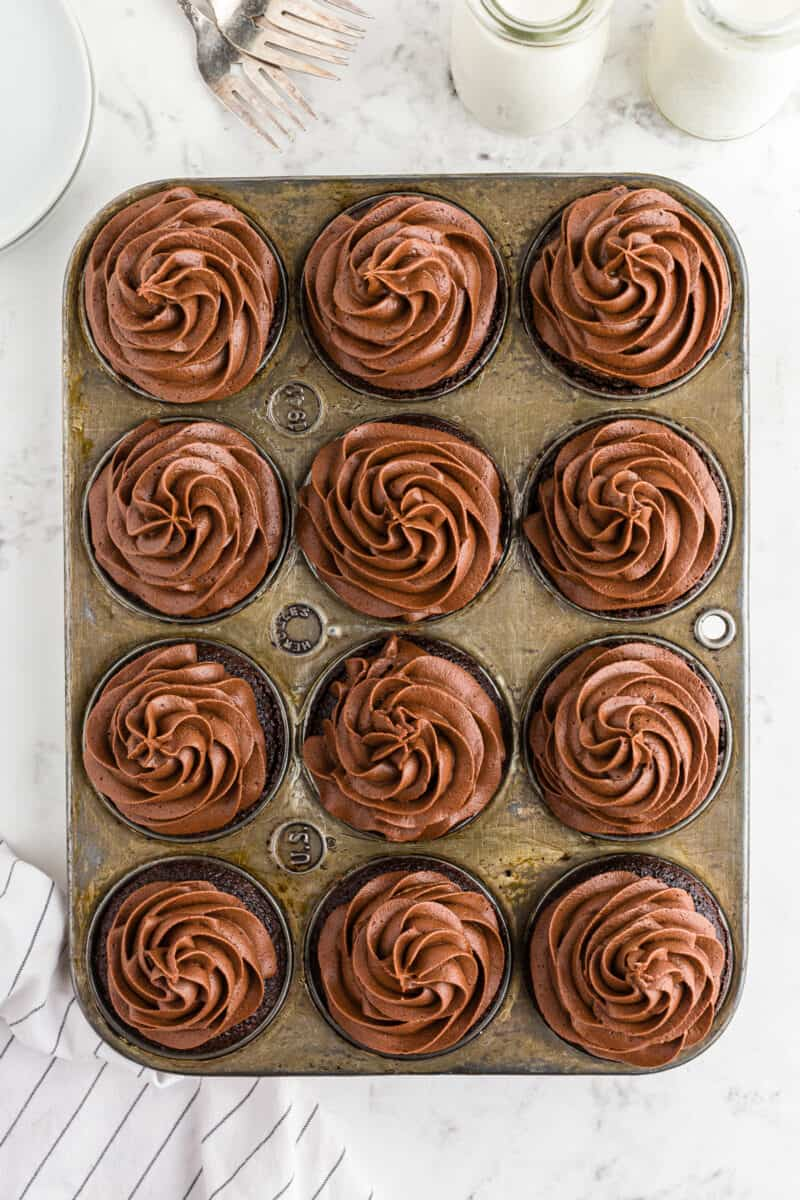 chocolate cupcakes with chocolate buttercream in cupcake tin