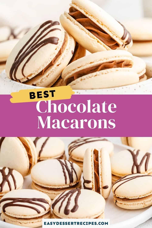 chocolate macarons pinterest collage