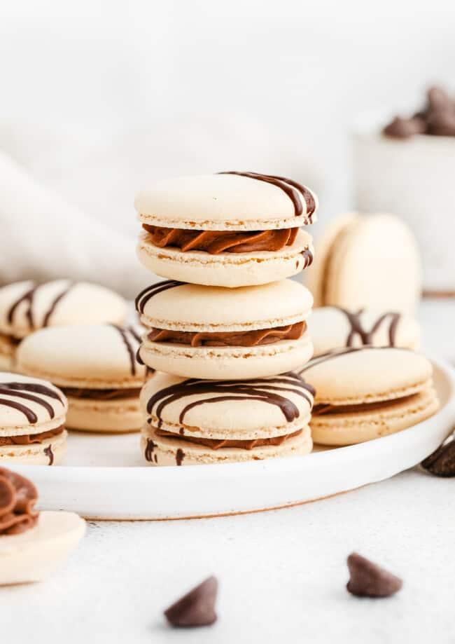 stacked chocolate macarons