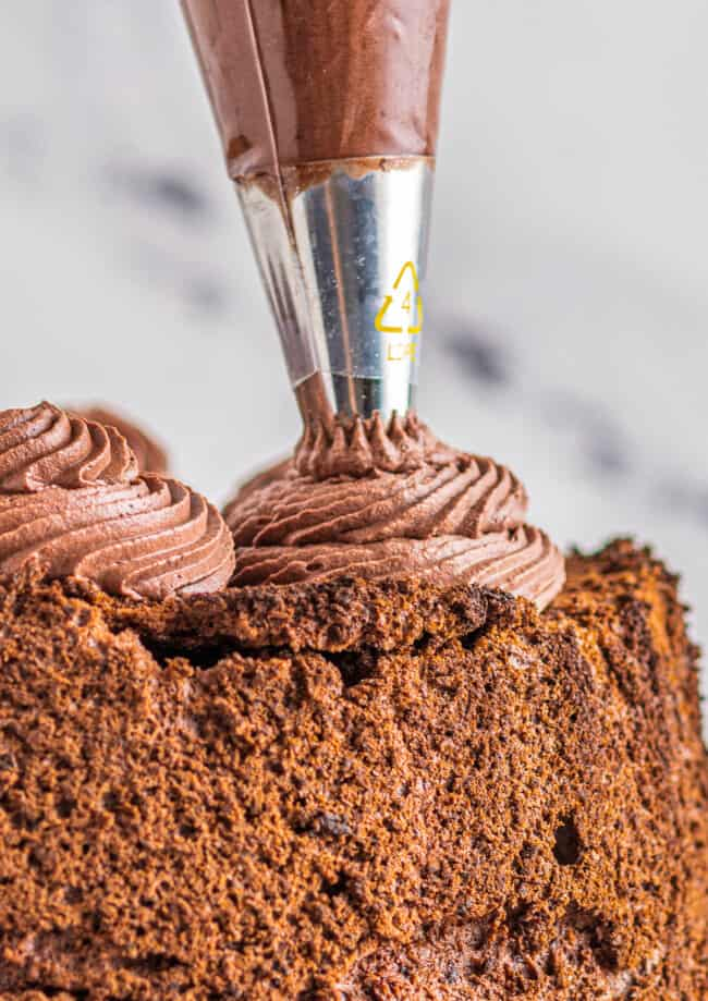 piping chocolate whipped cream frosting onto chocolate angel food cake
