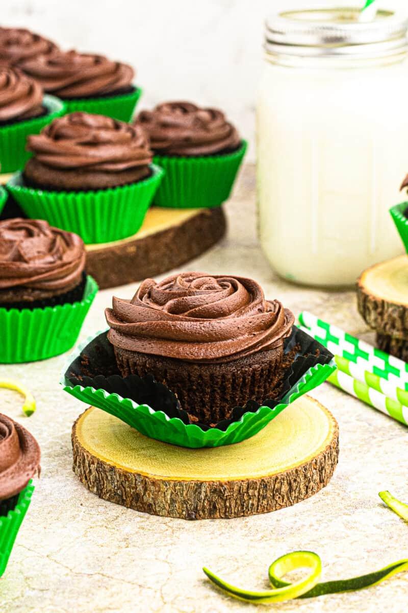 chocolate zucchini cupcakes on cupcake stand