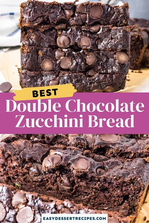 double chocolate zucchini bread pinterest collage