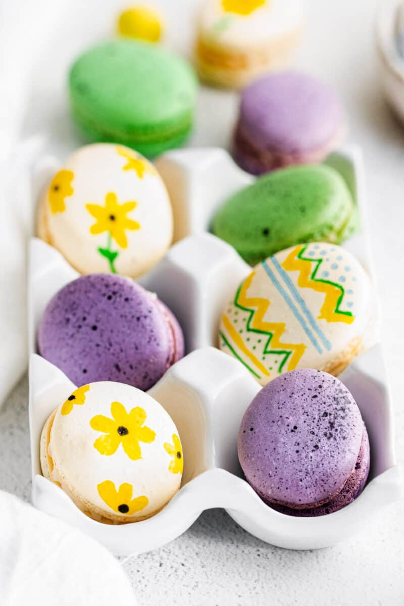 side easter egg macarons in egg crate