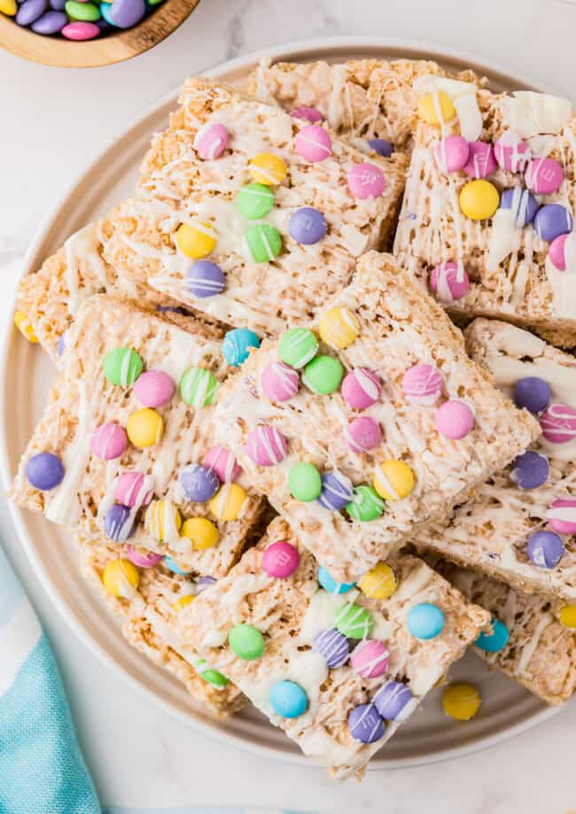 up close stacked easter rice krispie treats on serving platter