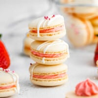 featured strawberry macarons