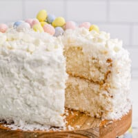 featured white chocolate coconut easter cake