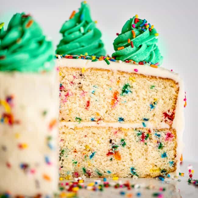 inside of funfetti layer cake
