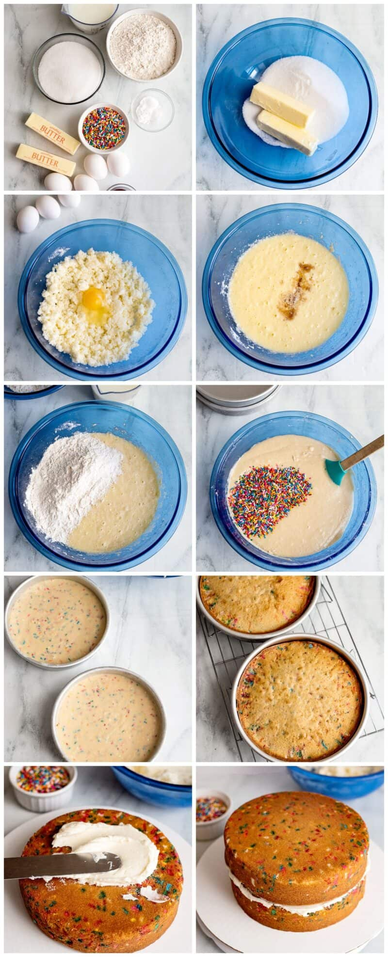 step by step photos for how to make funfetti cake
